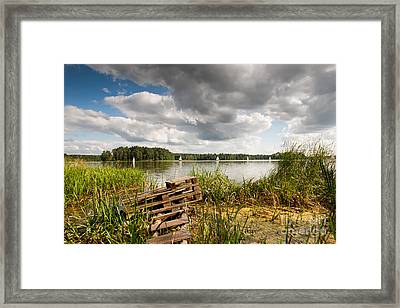 Old Bridge And Boats At The Lake Framed Print by Arletta Cwalina