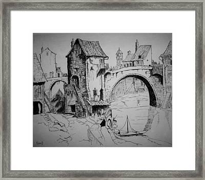 Old Bridge Framed Print by Maxwell Mandell