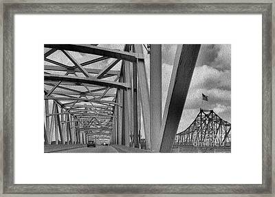 Framed Print featuring the photograph Old Bridge New Bridge by Janette Boyd