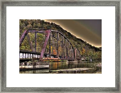 Framed Print featuring the photograph Old Bridge Over Lake by Jonny D