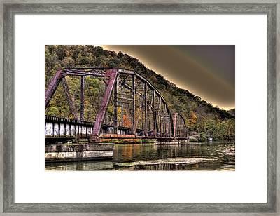 Old Bridge Over Lake Framed Print by Jonny D