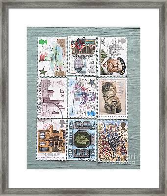 Old British Postage Stamps Framed Print by Jan Bickerton