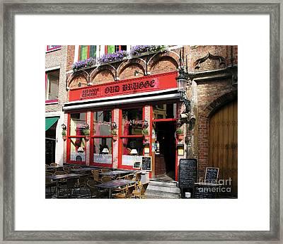 Old Brugge Tavern Framed Print by Mel Steinhauer