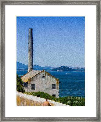 Old Building At Alcatraz Island Prison Framed Print