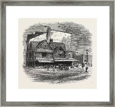 Old Building At Boston Where The Tea Plot Is Supposed Framed Print