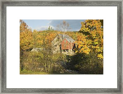 Old Buildings And Fall Colors In Vienna Maine Framed Print by Keith Webber Jr