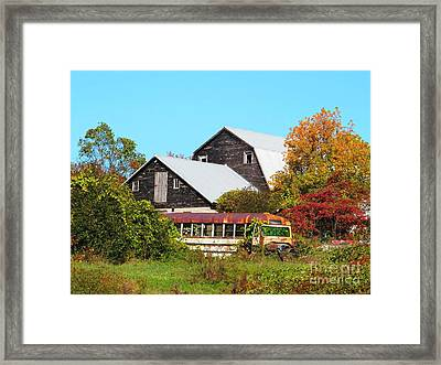 Old Bus And Barns Framed Print by Linda Marcille