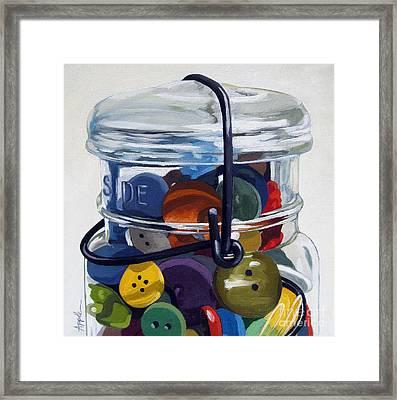 Old Button Jar Framed Print by Linda Apple