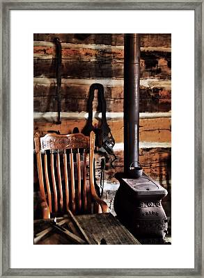 Old Cabin And Wood Burning Stove Framed Print by Dan Sproul