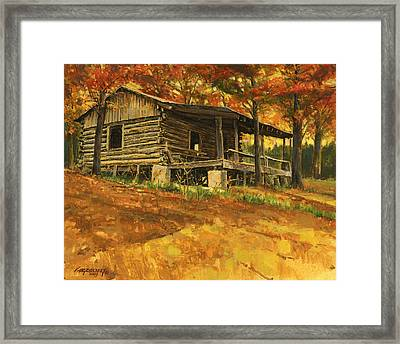 Old Cabin In Autumn Framed Print by Don  Langeneckert