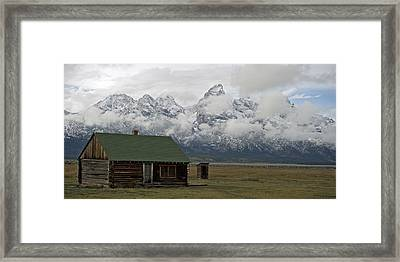 Old Cabin In  Grand Tetons Framed Print by Gary Langley