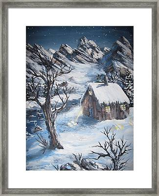 Framed Print featuring the painting Old Cabin by Megan Walsh