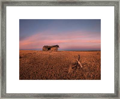 Old Cabin Sunset 1 Framed Print by Leland D Howard