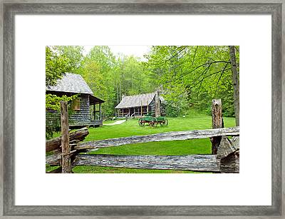Old Cabins At The Cradle Of Forestry Framed Print