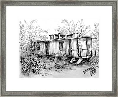 Old Caboose Framed Print by PJ Timmermans