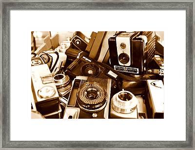 Old Cameras Framed Print by Marina Slusar
