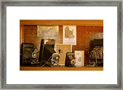 Framed Print featuring the photograph Old Cameras by Roseann Errigo