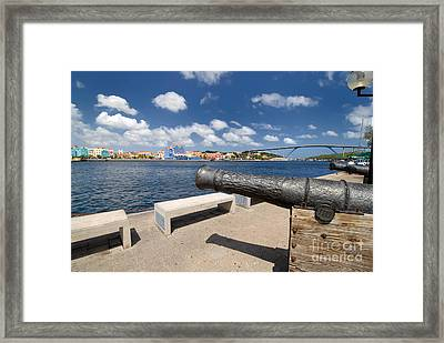 Old Cannon And Queen Juliana Bridge Curacao Framed Print by Amy Cicconi