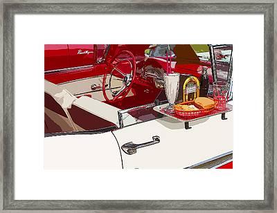 Old Car At Drive In Restaurant Framed Print