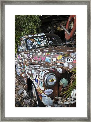 Old Car In Junk Yard Framed Print by Sophie Vigneault