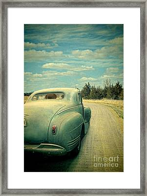 Old Car On Dirt Road Framed Print by Jill Battaglia