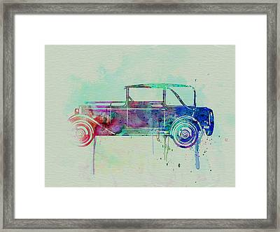 Old Car Watercolor Framed Print by Naxart Studio