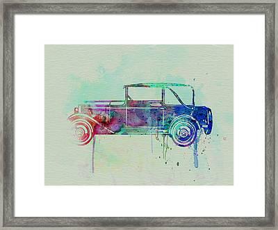 Old Car Watercolor Framed Print