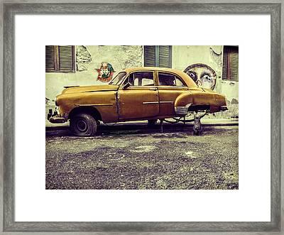 Old Car/cat Framed Print