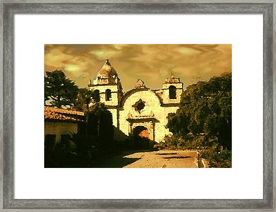 Old Carmel Mission - Watercolor Drawing Framed Print by Art America Online Gallery