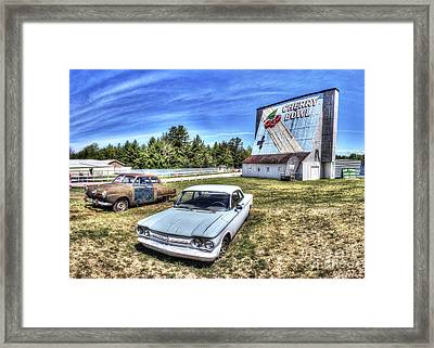 Old Cars At The Drive-in Framed Print