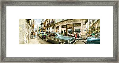 Old Cars On A Street, Havana, Cuba Framed Print by Panoramic Images