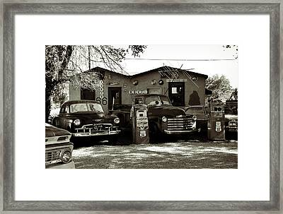 Old Cars On Route 66 Framed Print