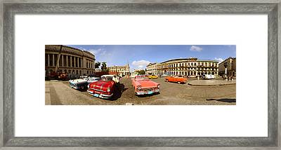 Old Cars On Street, Havana, Cuba Framed Print by Panoramic Images