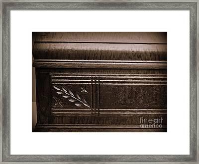 Old Carved Wood Cabinet Framed Print