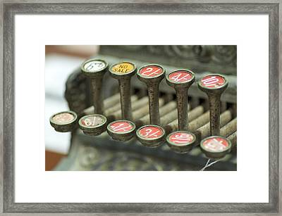 Old Cash Register Keys - Shillings And Pence  Framed Print by Sally Nevin