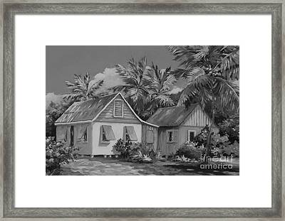 Old Cayman Cottages Monochrome Framed Print by John Clark
