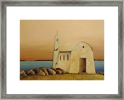 Old Chapel On Mykonos Framed Print by Martin Schmidt