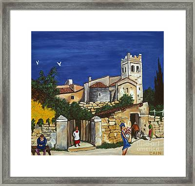 Old Church And Flower Girl Framed Print by William Cain