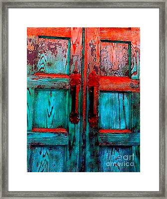 Old Church Door Handles 2 Framed Print by Becky Lupe