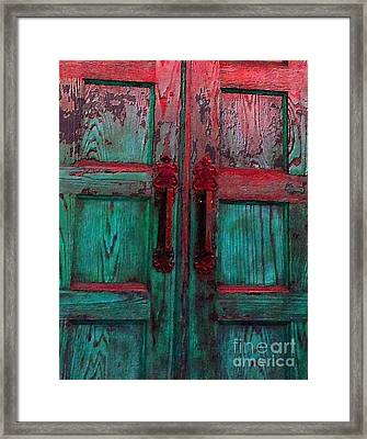 Framed Print featuring the photograph Old Church Door Handles by Becky Lupe