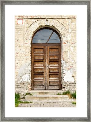 Framed Print featuring the photograph Old Church Door by Les Palenik