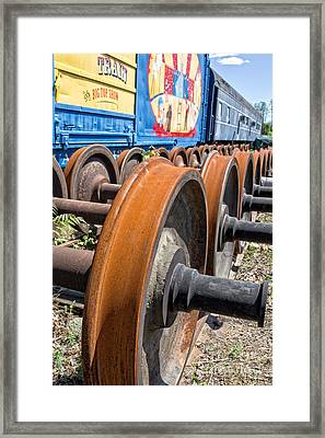 Old Circus Train Wheels Framed Print