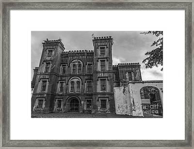 Old City Jail In Black And White Framed Print
