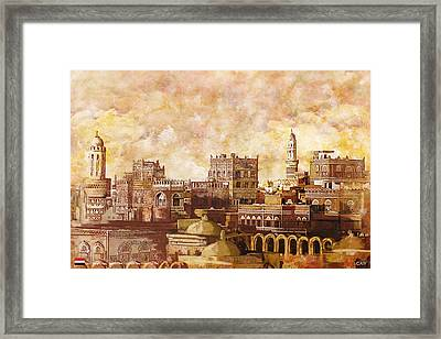 Old City Of Sanaa Framed Print by Catf