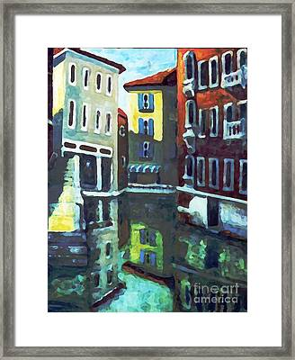 Framed Print featuring the painting Old City Of Venice In Sunlight by Rita Brown