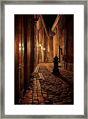 Old City Street In The Night Framed Print by Gynt