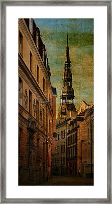 Old City Street - Stylized To Old Image Framed Print by Gynt