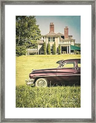 1951 Mercury Sedan In Front Of Large Mansion Framed Print by Edward Fielding
