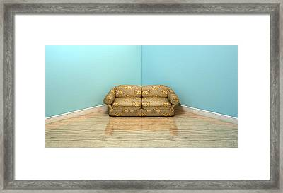 Old Classic Sofa In A Room Framed Print by Allan Swart