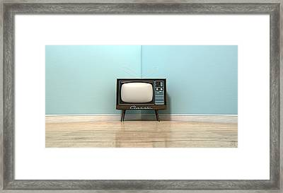 Old Classic Television In A Room Framed Print by Allan Swart